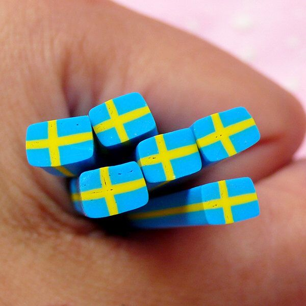 Sweden Flag Polymer Clay Cane Swedish Flag Fimo Swede Flag Cane Scrapbooking Nail Art Nail Decoration Fake Mini Cupcake Topper CE055 by MiniatureSweet on Etsy https://www.etsy.com/listing/154618271/sweden-flag-polymer-clay-cane-swedish