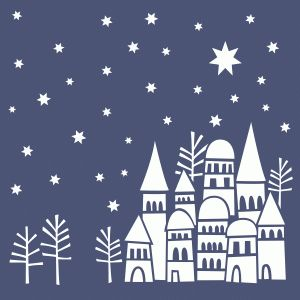 Silhouette Design Store - View Design #70803: snowy rooftops winter scene 12x12 page