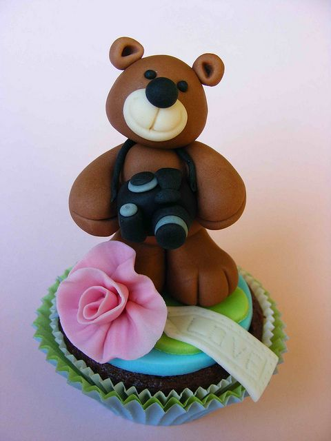 Teddy Bear Photographer Cupcake