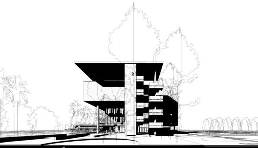 Miami Dade College Academic Support Center,East Elevation