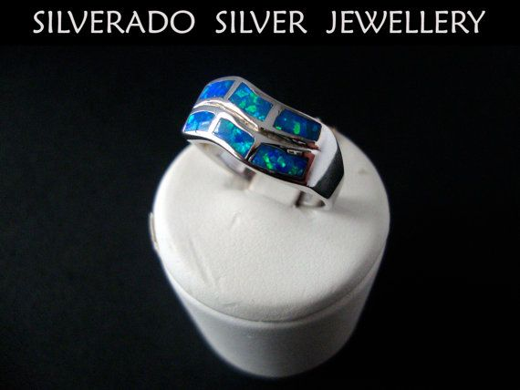 Sterling Silver 925 Wave Style Ring Opal Stone Size US 8 1/4  FR 58 on Etsy, 49,00 €