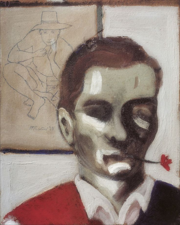 Pier Paolo Pasolini (Italian,1922 - 1975) Self-portrait with flower in mouth (Autoritratto con il fiore in bocca), 1947