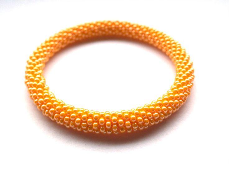 Crochet beads rope bracelet Nepal roll on bangle orange bracelet plus size fashion geometric  jewellery gift for her beadwork (6.00 EUR) by RebekeJewelry
