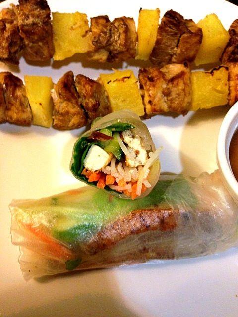 レシピとお料理がひらめくSnapDish - 3件のもぐもぐ - Vietnamese summer rolls with skewered chicken and pineapple by liz