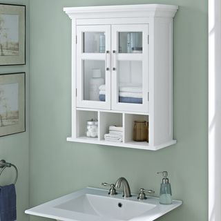 wyndenhall hayes two door bathroom wall cabinet with cubbies in white shopping