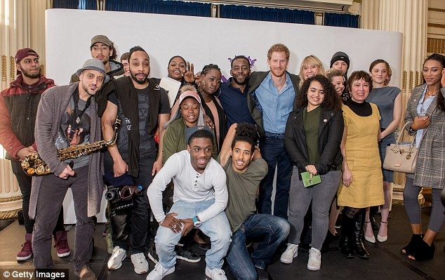 The royal poses with Full Effect Members after watching their performance.He watched young people and mentors perform an excerpt from 'hip-hopera' Look Sharp: The Barbershop