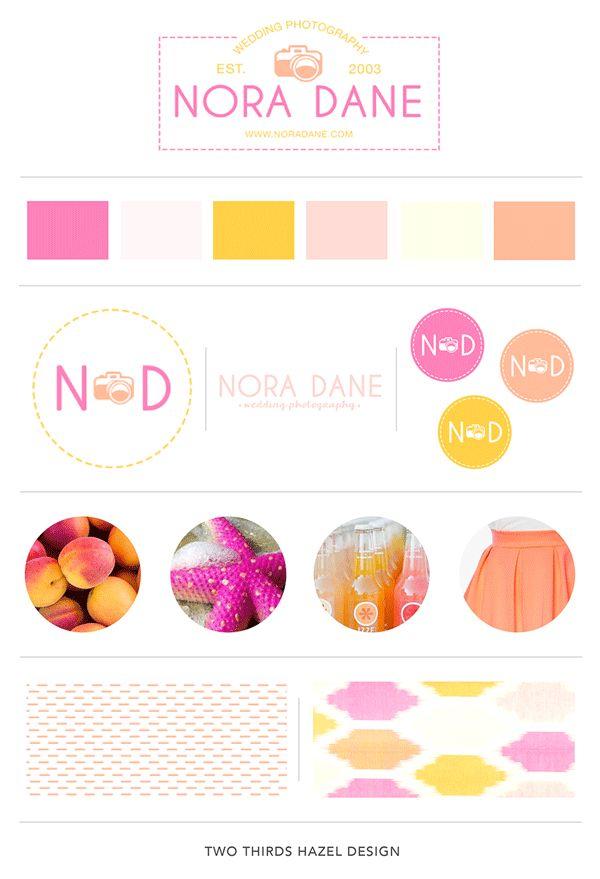 Blog design | Branding board | Logo | Design by Two Thirds Hazel | Bright and cheery branding | Pink logo | Photography Logo | Photography Branding | Pink and orange patterns | www.twothirdshazel.com | #twothirdshazel