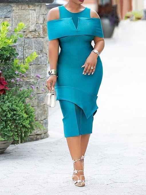 c6e421572061 Ericdress Split Half Sleeve Mid-Calf Bodycon Pullover Dress | Plus ...