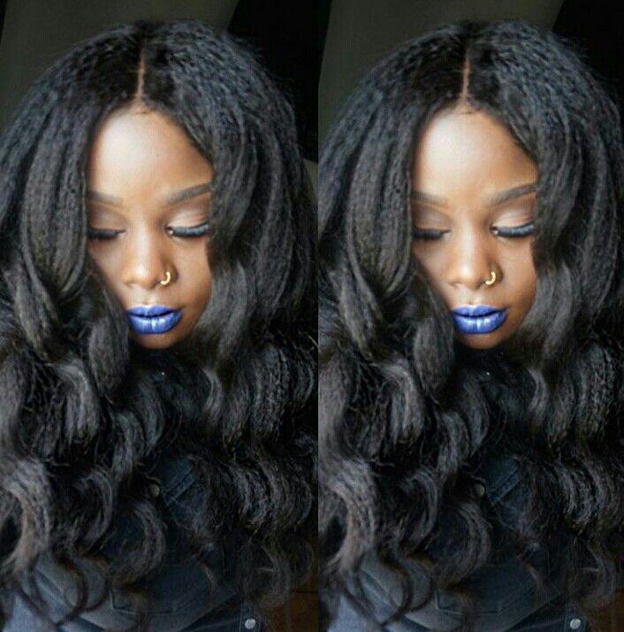 Kinky straight hair with wand curls