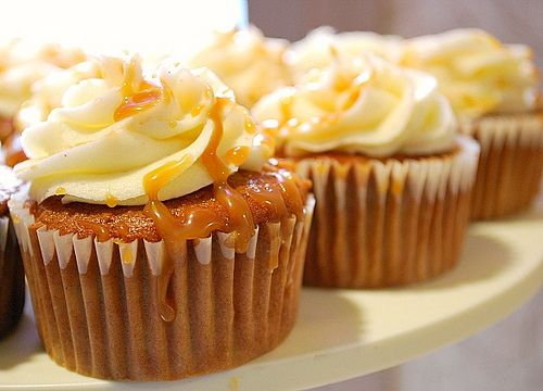 Caramel pear and ginger cupcakes