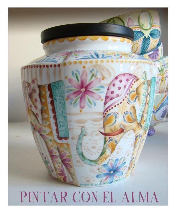 Pintura porcelana flores firuletes Juan Pablo Repetto