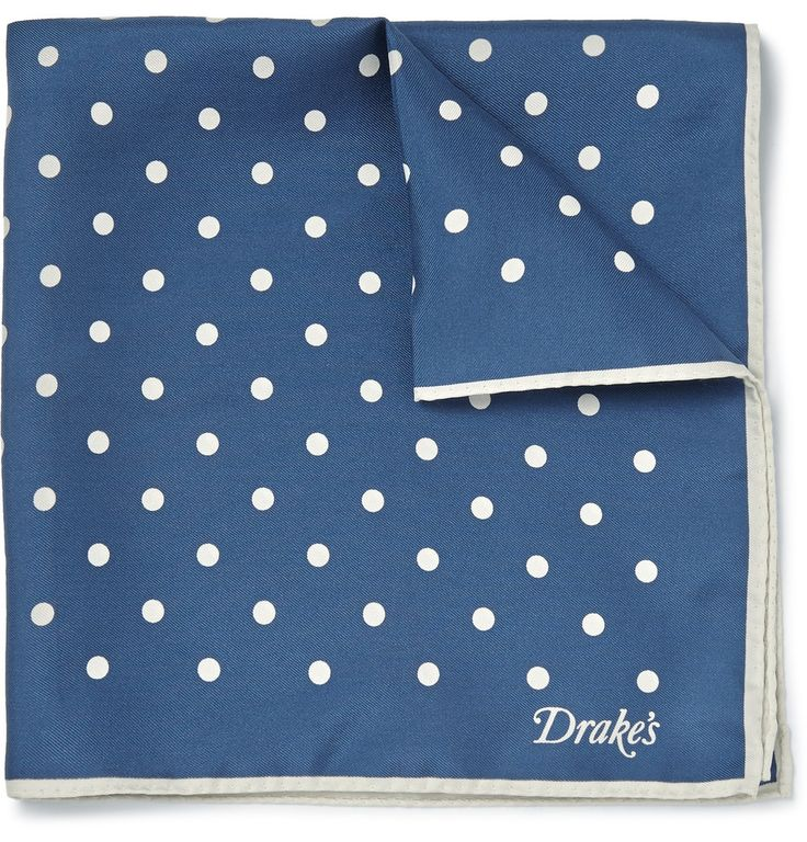 Kingsman - Drake's Polka-Dot Silk-Twill Pocket Square MR PORTER