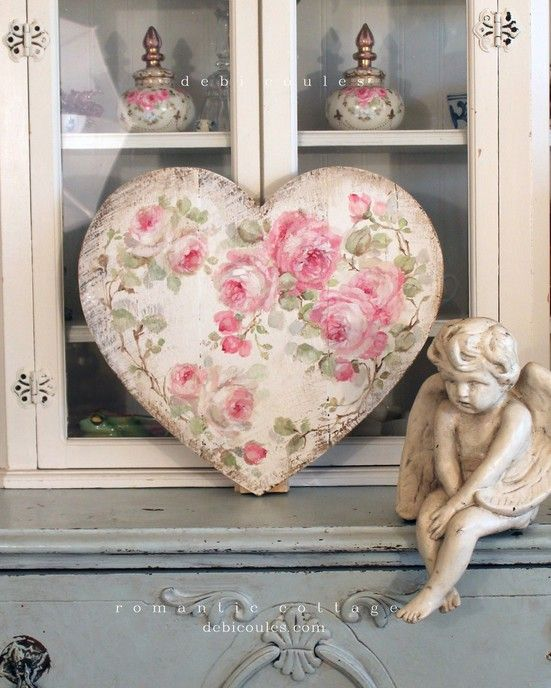 Shabby Chic Vintage Style Large Roses Heart - Debi Coules Romantic Art