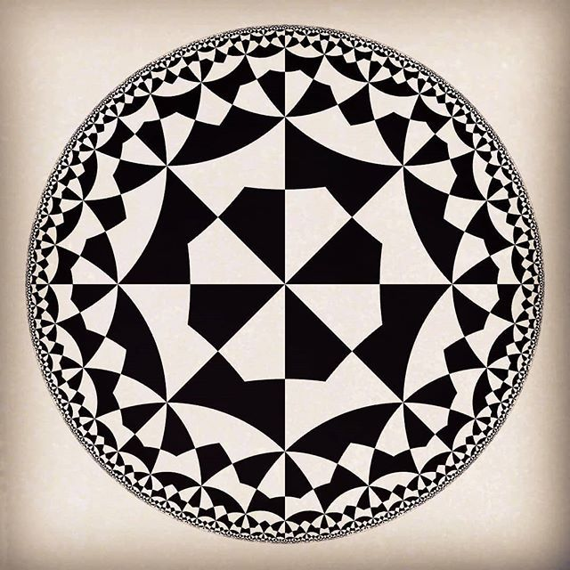 MC Escher inspired tiling of the hyperbolic plane  This one