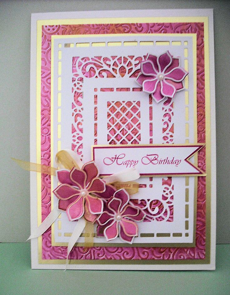 ..by Marjorie Ramsay...inspired by John Lockwood - Australian Collection Background - Orange Blossom complete and open petals - Jacobean Floral embossing folder - Indian Pink and Gold Treasure gilding polish - sentiment is computer generated.