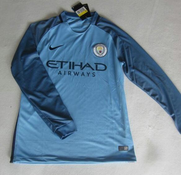 2016/2017 Camiseta Manchester City 1ª Manga Larga