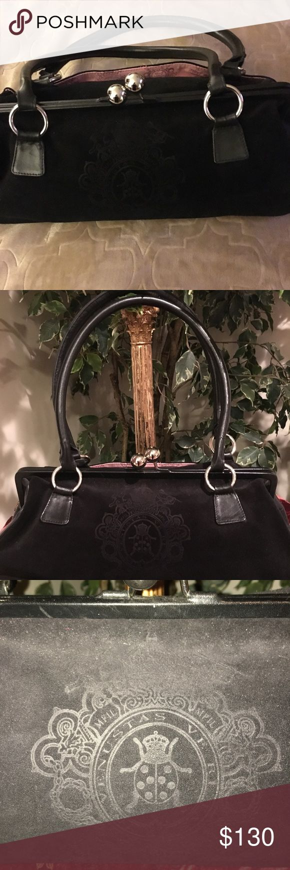 My Flat In London handbag Black rich leather and suede My Flat In London handbag. Shoulder straps, silver hardware, silver feet. Gorgeous silver ball closure.inside pocket and very roomy. My Flat in London Bags Shoulder Bags