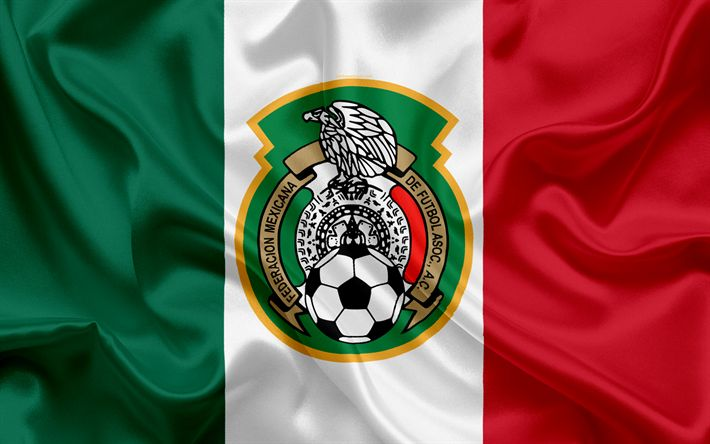 Download wallpapers Mexico national football team, logo, emblem, flag of Mexico, football federation, World Championship, football, silk texture