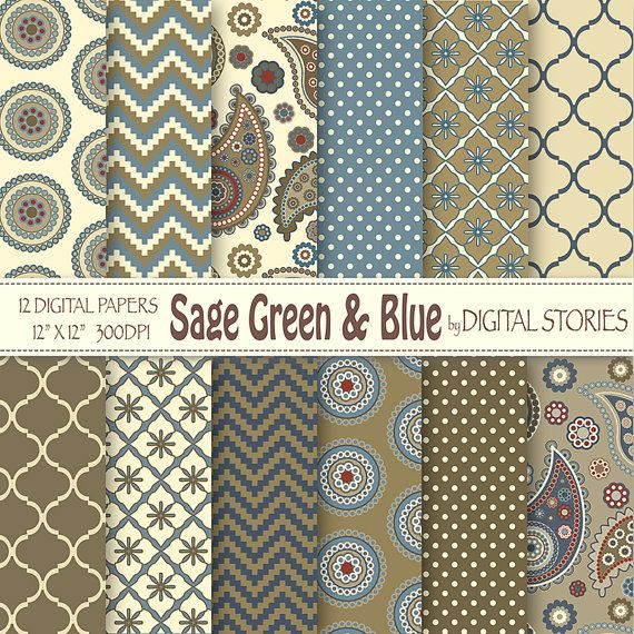 "Paisley Digital Paper: ""SAGE GREEN BLUE""  Paisley Retro scrapbook digital paper for invites, cards, backgrounds"