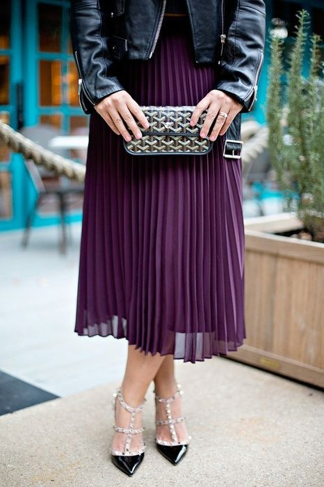 Blare June in a Purple Pleated Skirt, Leather Jacket, Valentino Heels and a Goyard Clutch. #ssCollective #shopstylecollective #myshopstyle #PSfashion #Goyard #Valentino