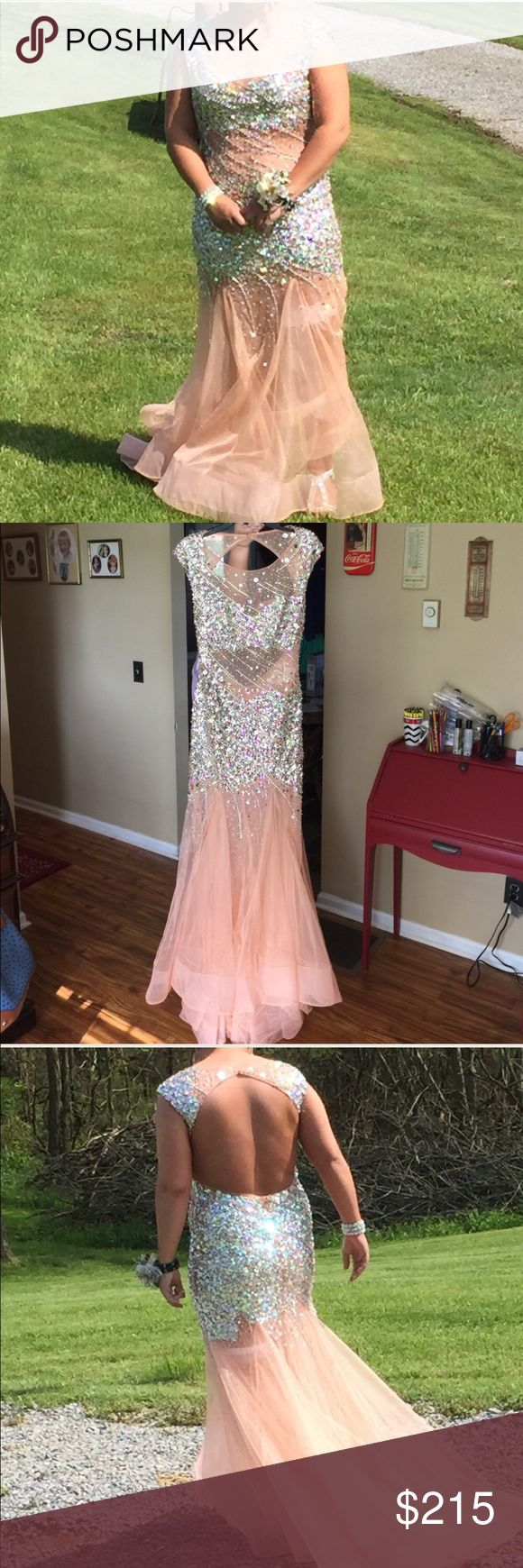 """Amazing Blush Prom (Prom dress) Peach colored prom dress """"Blush Prom"""" brand size 10. This dress is beautiful with iridescent beading all over. This dress has a sheer see through stomach area with a full open back. It also has sewn in bra padding. Only been worn once! Blush Prom Dresses Prom"""