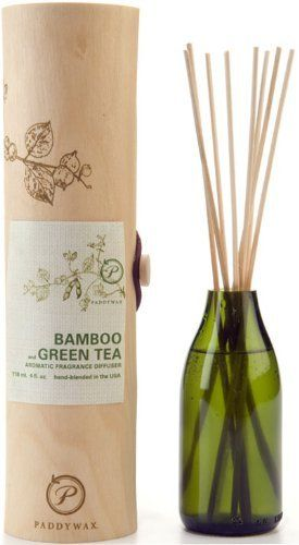 Paddywax Eco Green Fragrance Diffuser, Bamboo and Green Tea by Paddywax. $26.99. Bamboo and Green Tea scent provides a refreshing and calming fragrance, a beautiful harmony of cool, clean scents. Includes natural reeds and 4 ounces of signature diffuser oil; look for all 8 guiltless fragrances. Provides a celebration for the senses, transforming one?s surroundings with elegant looks and enticing fragrances that make everyday extraordinary. Paddywax eco green diffuser feat...