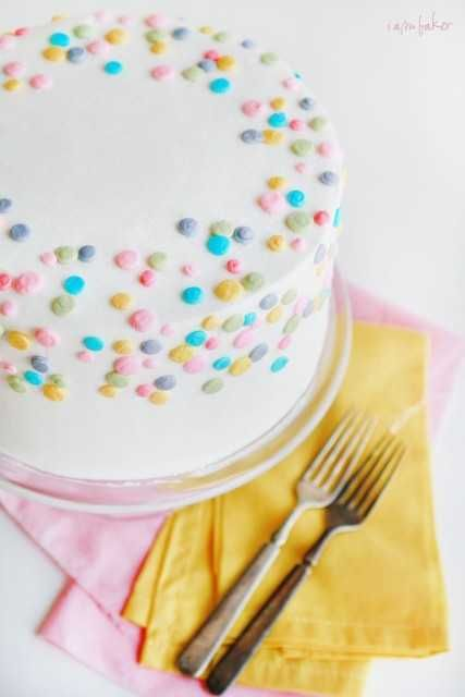 Simple yet festive polka dot cake (iambaker). Great for a birthday or Easter. Polka Dot Brownie Cake. Brownies + chocolate buttercream + white cake + vanilla buttercream. Great idea.