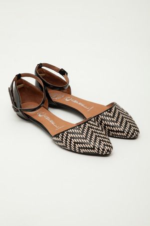 Jeffrey Campbell - Black/Nude Woven Lovin Ankle Strap Flats