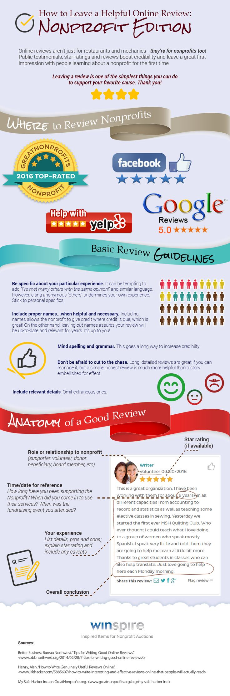 Increasingly potential donors are looking up nonprofits' credibility online - so it's important to get GOOD helpful reviews from supporters. Try providing guidelines or suggestions for a helpful review to supporters, like this infographic detailing the most popular sites and basic review etiquette.