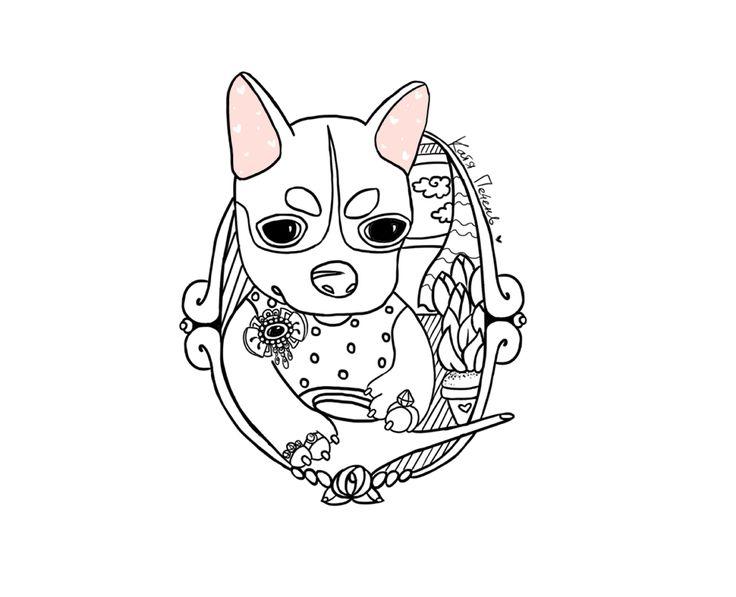 чхуа чихуахуа собака чишка щенок лейка иллюстрация рисунок
