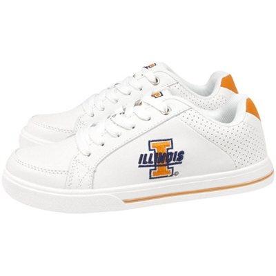 Illinois Fighting Illini Ladies White Team Logo Leather Tennis Shoes