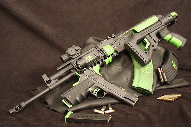 Zombie hunter - Custom tactical AK-47 and Kimber TLE II 45. They don't stand a chance with his gear.