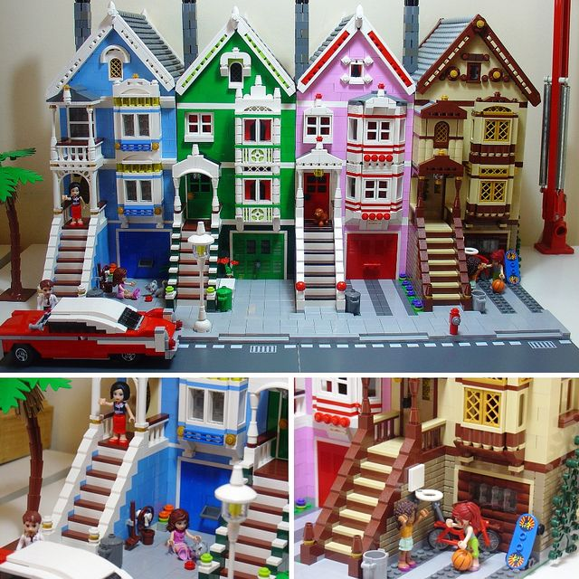 lego-this would make great houses for a christmas town-just add some snow