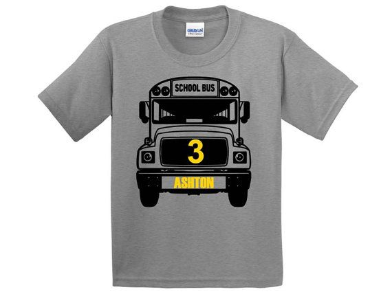 Personalized school bus birthday party shirt is perfect for a school bus party. It is also available in many bold colors. It is a 100% cotton shirt that is comfortable, durable, and soft, and is perfect for any kid. All designs are made with heat transfer vinyl. The color of the design and