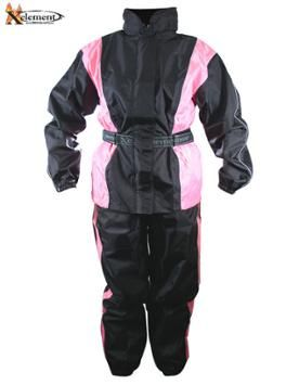 Xelement RN-4786 Womens 2 Piece Black and Pink Motorcycle Rain Suit