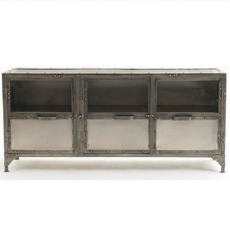Antique Finish Iron Element Tv Media Stand furniture on Sale at Zin Home. Hand-crafted from iron in a Antique nickel Finish. This Iron Element…