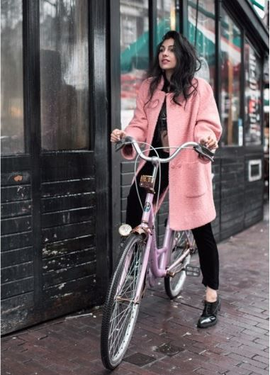 Anna Nooshin on OOTD wearing Ganni pink woolen coat from the Pre-Spring 2015 collection.