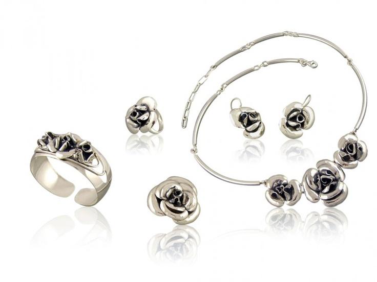 Silver jewellery set - 5 elements