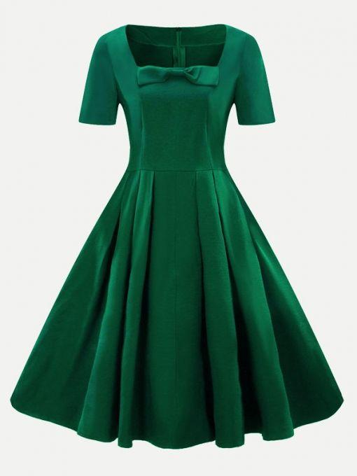 Vinfemass Square Collar Bowknot Front Plus Size Skater Dress in 2019 ... effa79b81