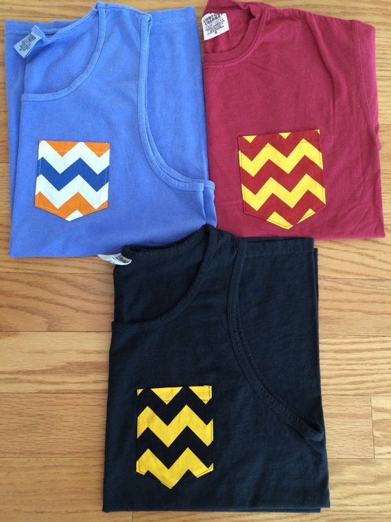 College themed Comfort Colors brand tank or tee with UF, FSU, and UCF colored chevron pockets on Etsy, $20.00
