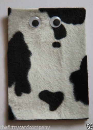 Handmade Furry Black & White Cow Print Greetings Card | eBay
