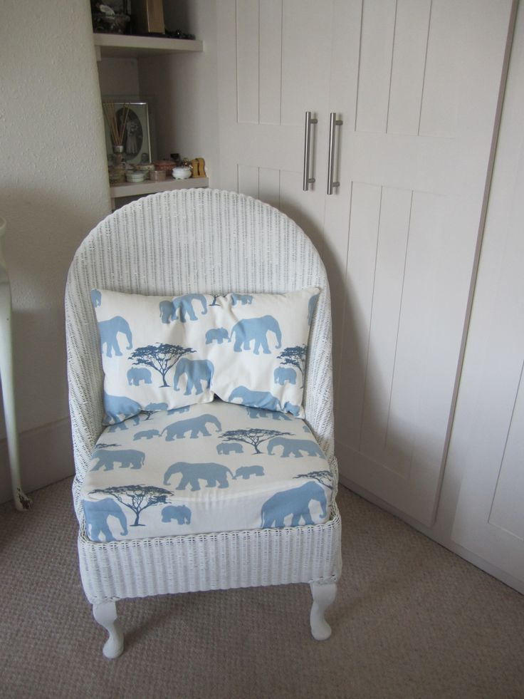 LLoyd loom nursing chair with pretty elephant fabric..MY FIRST SALE!!!!! :-)