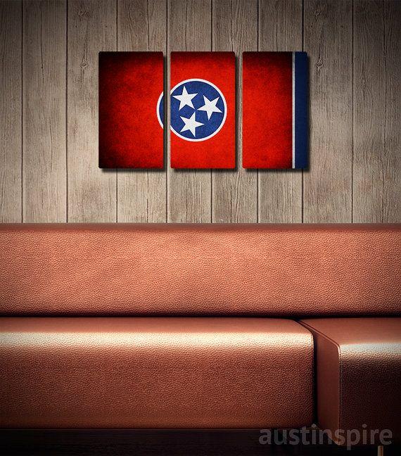 Tennessee Flag Triptych #wallart #walldecor