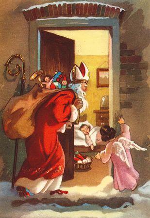 St. Nicholas Day (December 6th) is celebrated in many ways—the stately bishop may lead a town parade, be commemorated in saint's day worship, visit schools, hospitals and homes or provide the focus for a party, come under cover of night to leave sweet treats and small gifts for children.