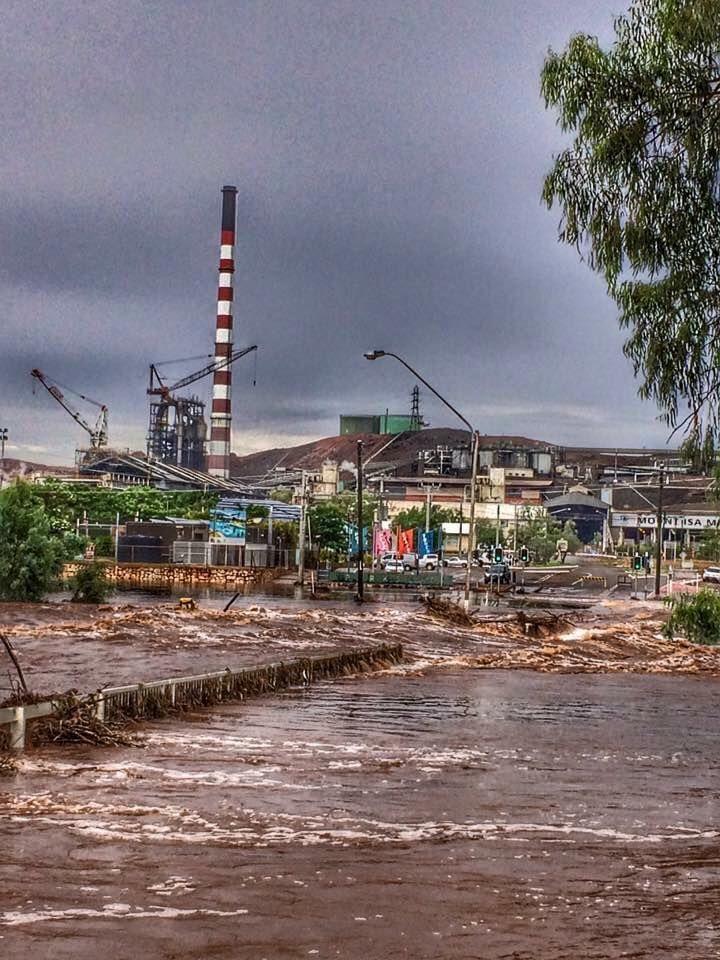 Big rain in Mount Isa.. across the old bridge.