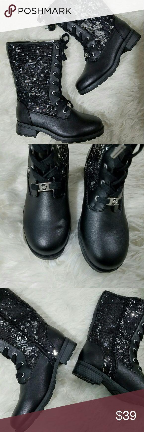 Michael Kors Sequin Glitter Combat Boots Girl's MK boots.  Cute boots!!   SS Michael Kors Shoes Boots