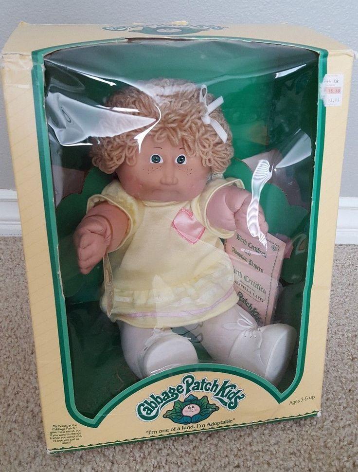 nice 1983 NIB Cabbage Patch Kid Arabella Laverne Wheat Hair Green Eyed Girl -Freckles