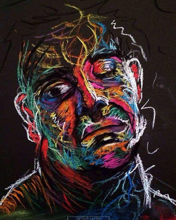 Expressive portrait by Ashleigh Hunter- pastels on black paper