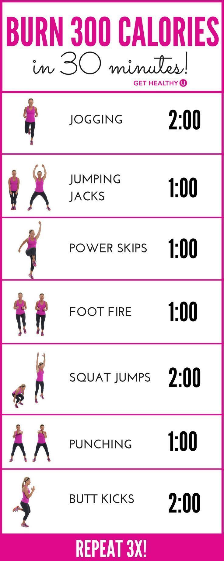 Most experts agree that the average 150-pound woman, exercising with intensity, will burn about 100 calories in 10 minutes. This 30-minute workout, if done with INTENSITY will burn around 300 calories! Get your heart pumping and feel the burn!