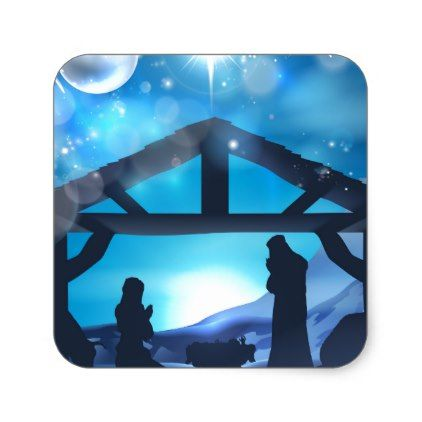 Nativity Christmas Abstract Background Square Sticker - christmas stickers xmas eve custom holiday merry christmas